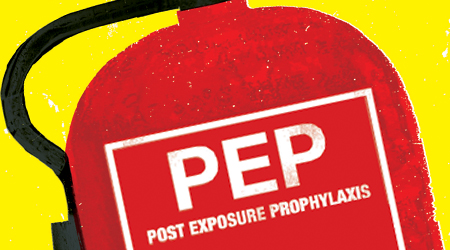 Fire extinguisher image to illustrate HIV post-exposure prophylaxis