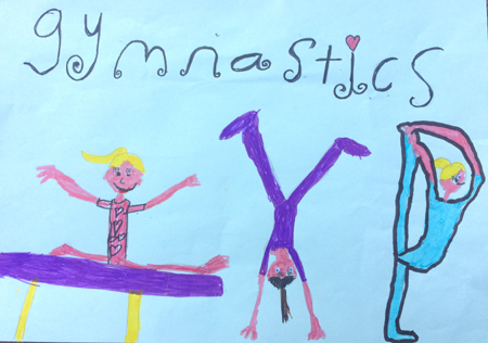 Children's drawing of girls and boys playing gymnastics